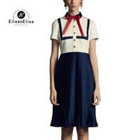 Лоскутное женское платье Высокое качество белый и голубое платье рукава короткие Повседневное Брендовая дизайнерская обувь платье
