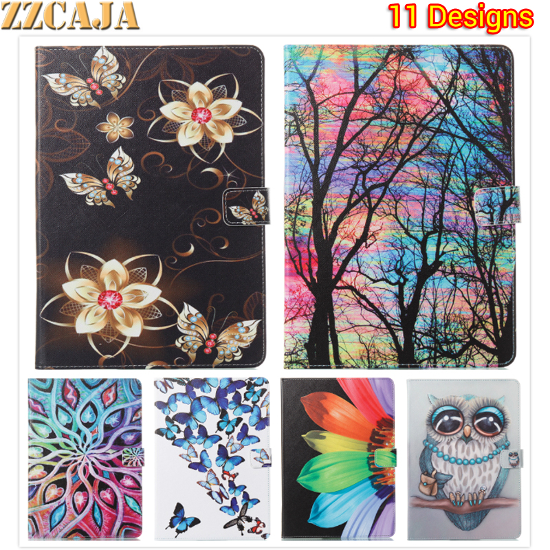 ZZCAJA New Fashion Painted Flowers Butterfly PU Leather Stand Holder Cover Case For iPad
