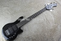 Free Shipping High Quality 6 Strings Music Man Bongo black Bass Guitar with Active Pickups