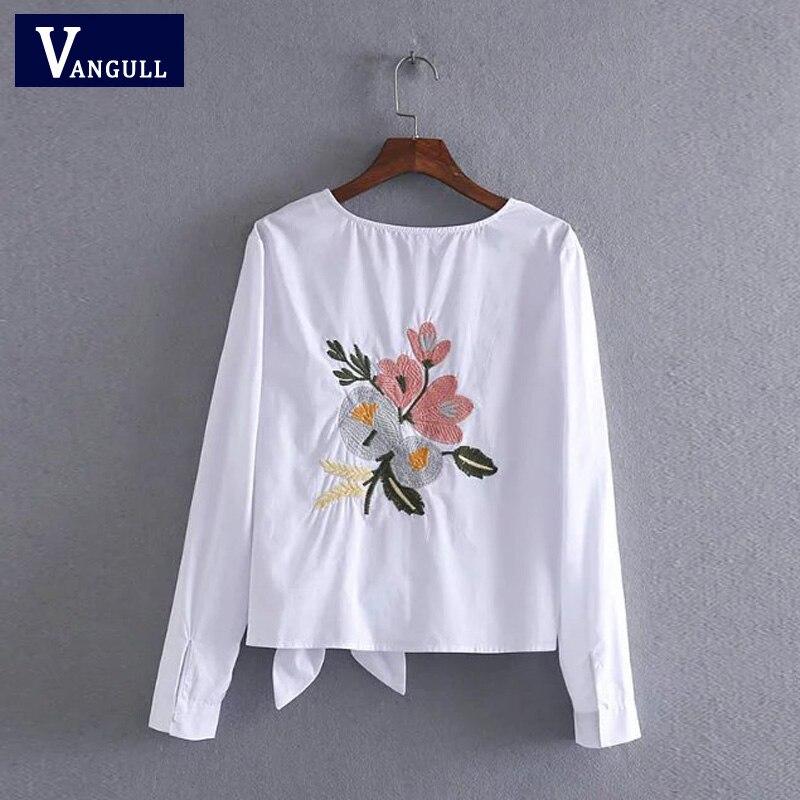 Vangull Для женщин хлопок вышивка белая блузка с круглым вырезом бантом сзади цветы вышитые рубашки 2018 Лето Повседневное рубашки женские топы