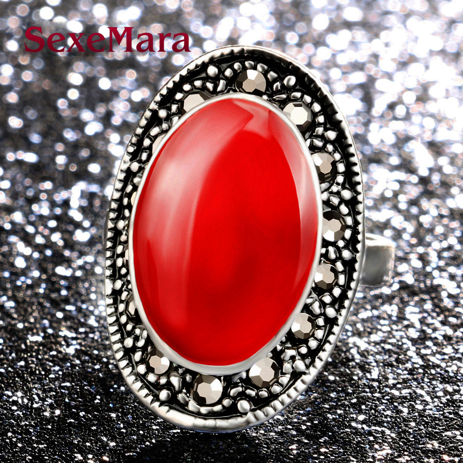 Fashion Vintage Jewelry Look Tibetan silver Antique Personality black 3 Colors Oval Crystal Ring women party jewelry jz270