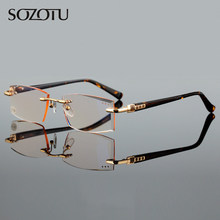4adccc79f0f Rimless Reading Glasses Men Women Diopter Glasses Male Presbyopic Acetate Frame  Eyeglasses +1.0+1.5+2.0+2.5+3.0+3.5+4.0 YQ482