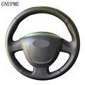 Сшитый вручную чехол на руль  черные чехлы рулевого колеса автомобиля из искусственной кожи для Lada Granta 2011-2016