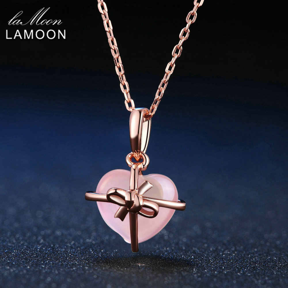 LAMOON 925 Sterling Silver Necklace For Women Heart Rose Quartz Gemstone Necklace 18K Rose Gold Plated Fine Jewelry LMNI016