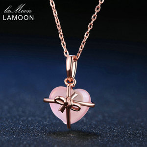 Image 1 - LAMOON 925 Sterling Silver Necklace For Women Heart Rose Quartz Gemstone Necklace 18K Rose Gold Plated Fine Jewelry LMNI016
