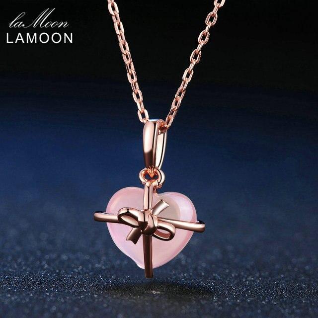 LAMOON kadınlar için 925 ayar gümüş kolye kalp gül kuvars taşı kolye 18K Rose altın kaplama güzel takı LMNI016