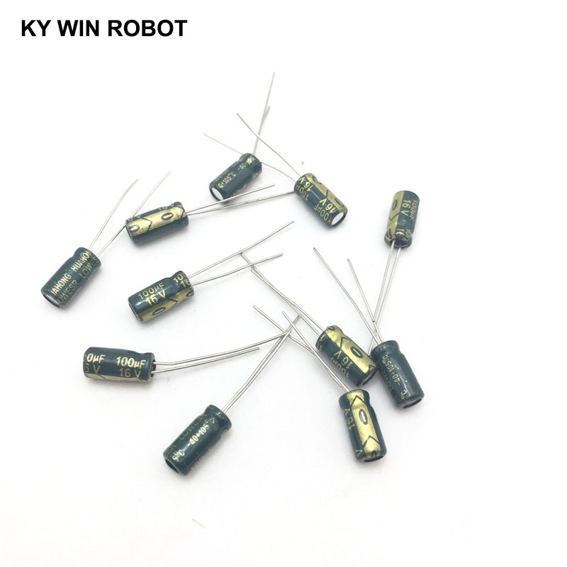 50pcs/lot 100UF 16V 100mf 105C 5X11mm Aluminum Electrolytic Capacitor 16V100UF Radial Lead 50pcs