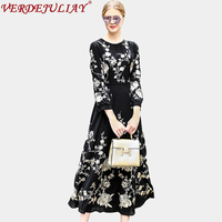 Vintage Dresses Women 2018 Newest Spring Fashion High Street Floral Embroidery Lantern Sleeve Top Grade European