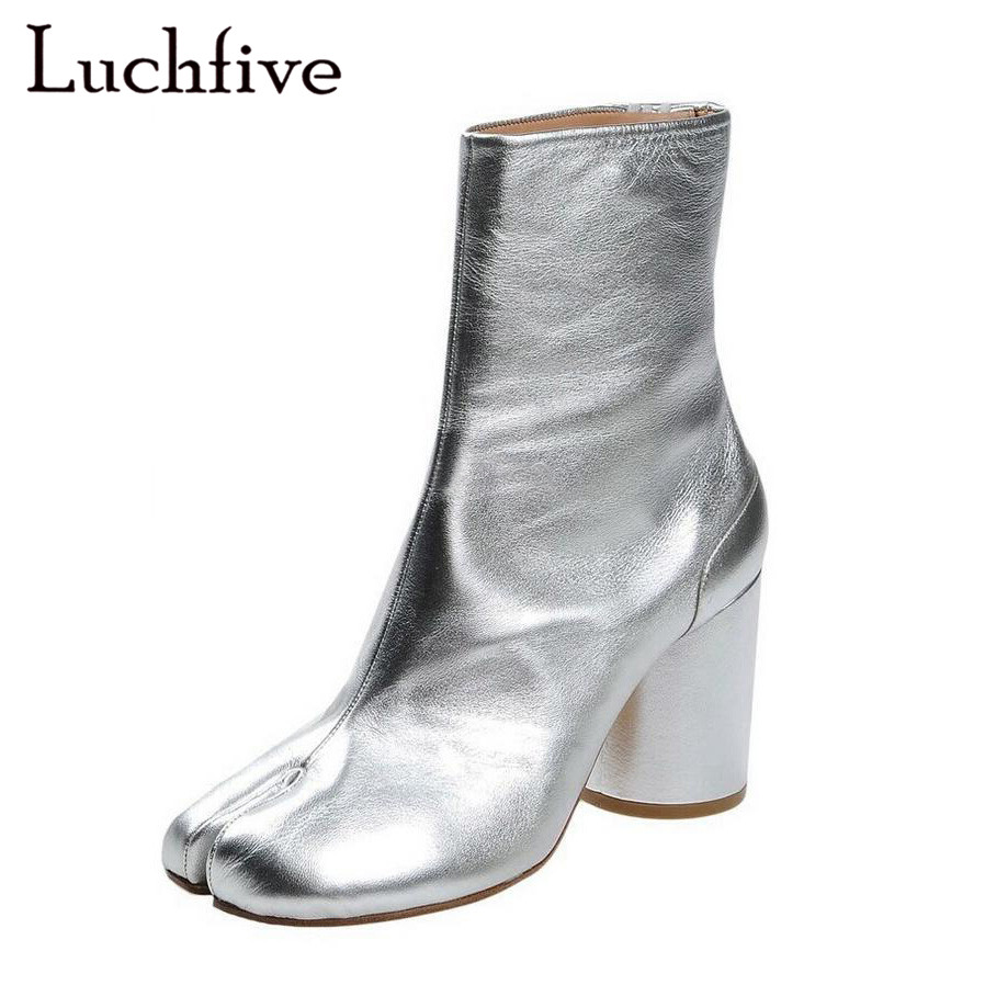 2018 Genuine leather silver wine red Short Boots high heels split toes  apart runway style Ankle Boots for women Zapatos mujer -in Ankle Boots from  Shoes on ... fabf3d11cf0e