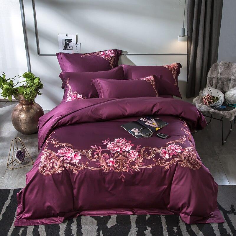 Purple Pink Blue Egyptian Cotton Luxury Bedding Set Queen King size Bedlinen Duvet cover bed set Bed Sheet set Pillowcase Purple Pink Blue Egyptian Cotton Luxury Bedding Set Queen King size Bedlinen Duvet cover bed set Bed Sheet set Pillowcase