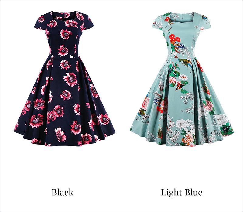 Kostlish Brand 2017 New Summer Dress Women Short Sleeve Slim 50s 60s Vintage Dress Elegant Print Swing Rockabilly Party Dresses (28)