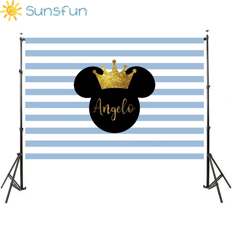 Sunsfun Boy Cartoon Blue Mickey Minnie Mouse Custom Photography Studio Backgrounds Newborn Birthday Party Photo Backdrop Sxy930