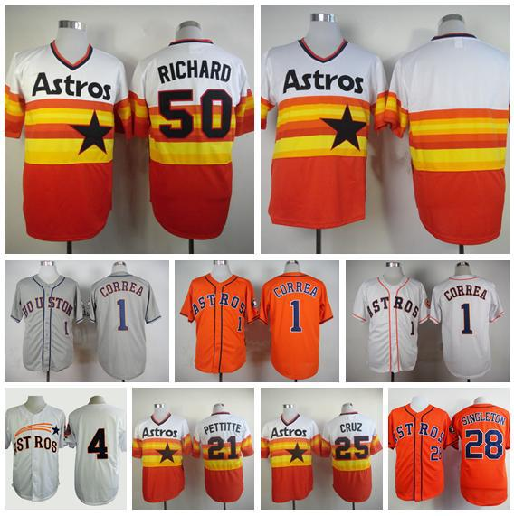 Houston Astros Throwback Jersey 50 JR Richard 1 Carlos Correa 25 Jose Cruz Baseball  Jerseys Retro 28 Colby Rasmus Free Shipping 29107361e