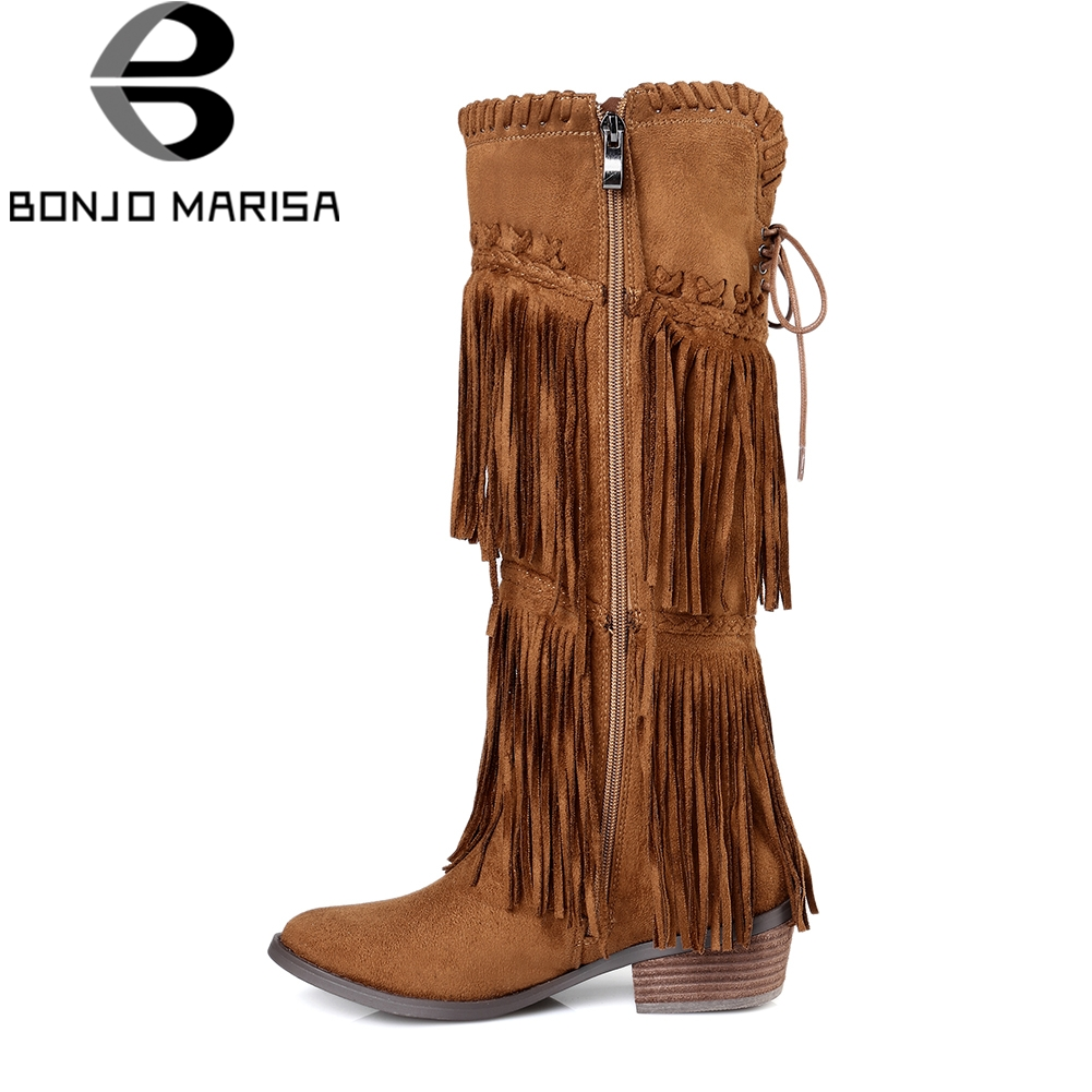 BONJOMARISA 2018 Chunky Heels Fringe Shoes Woman Zip Up Knee High Boots Women Shoes Large Size 33-43 Winter Boots Shoes Woman bonjomarisa 2018 summer sweet concise women sandals big size 33 43 fashion beading bow shoes woman low chunky heels women shoes