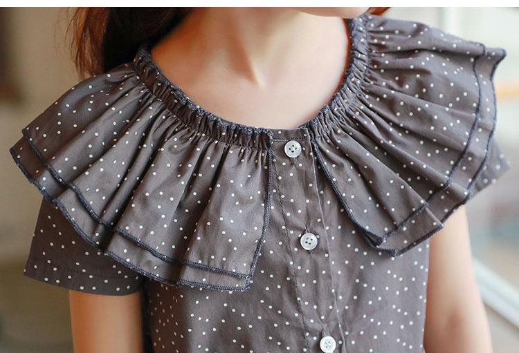 new fashion 2017 girl dress ruffles preppy style kids dresses for girls children school clothing dot short sleeve children dresses girls 2017 summer dresses kids clothes (21)