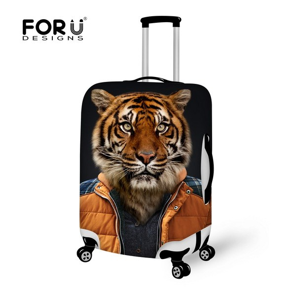 Marca bonito 3D tigre Animal / cão cabeça Elastic bagagem do curso de proteção cobertura de bagagem tampa protetora contra poeira à prova d ' água para 18 - 30 polegada mala