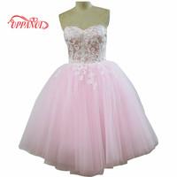 Simple Light Pink Prom Dresses A Line Strapless Zipper Back Tulle Homecoming Dress Party Dress With