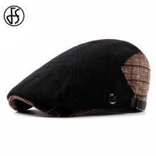FS Autumn Winter Cotton Felt Beret Cap For Women Or Men 2018 Fashion Flat Berets Plaid Patchwork Visor Caps Unisex Newsboy Hat(China)