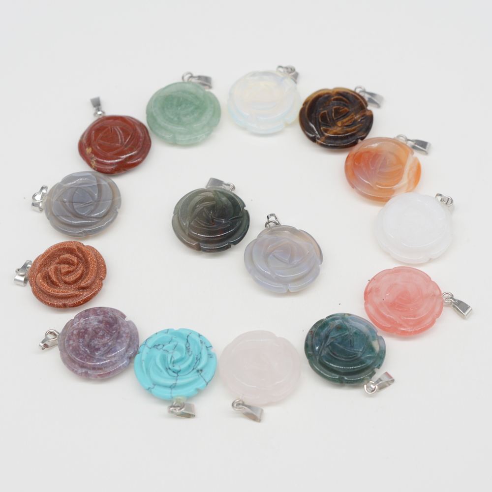20 pcs various flower-shaped colorful Pendant pink aventurine Stones Fashion Natural components for friends gift