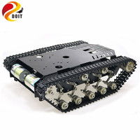 Shock Absorber Stainless Steel Tank Truck Intelligent Robot Chassis Metal Pedrail with Dual DC 12V Motor for Arduino Rasberry Pi