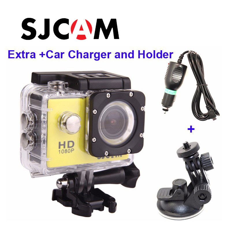 Livraison gratuite!! D'origine SJCAM SJ4000 Plongée 30 M Étanche extrême Casque Sport Action Caméra + Supplémentaire Chargeur De Voiture et Titulaire