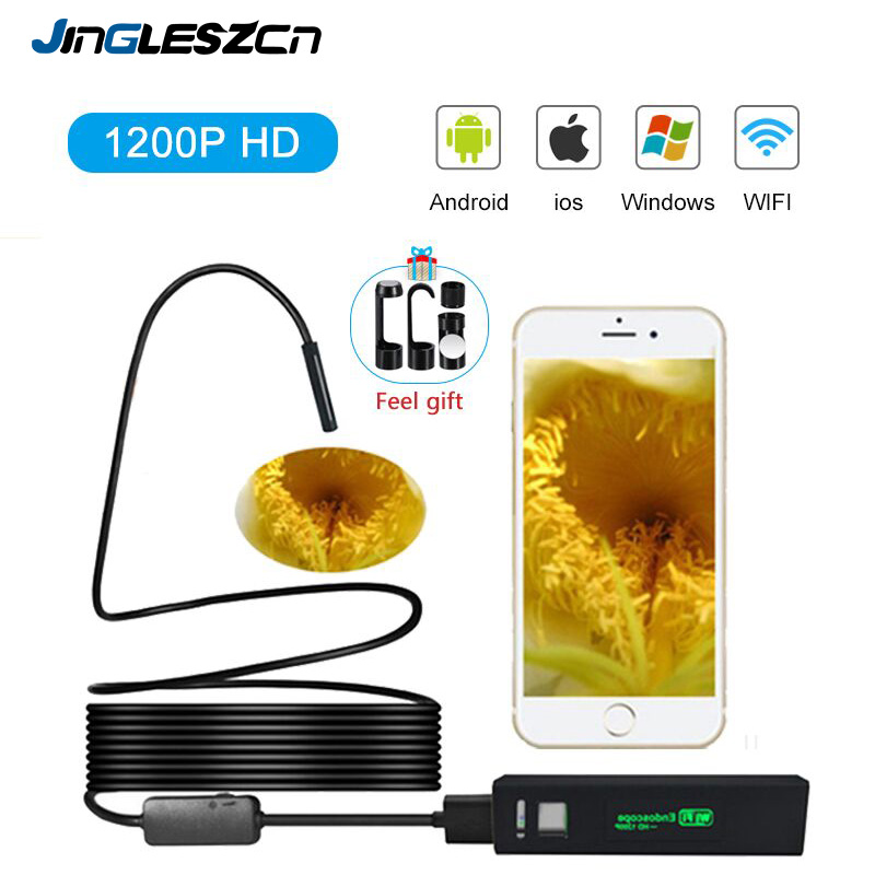 WiFi Inspection Camera IP68 Waterproof 1200P Wireless Endoscope Tube Snake Camera With 8 LED Lights for IOS Android SmartphoneWiFi Inspection Camera IP68 Waterproof 1200P Wireless Endoscope Tube Snake Camera With 8 LED Lights for IOS Android Smartphone