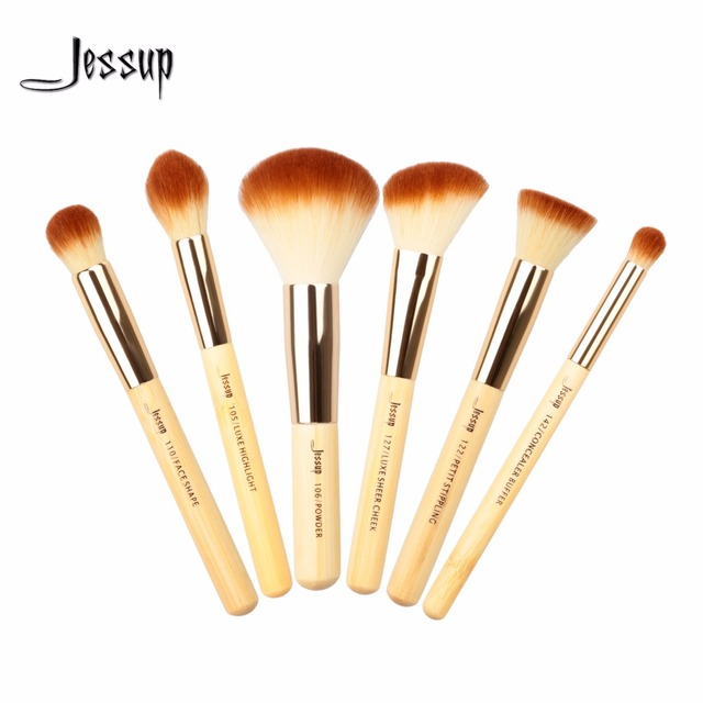 Jessup 6pcs Beauty Bamboo Professional Makeup Brushes Set Make up Brush Tools kit Buffer Paint Cheek Highlight