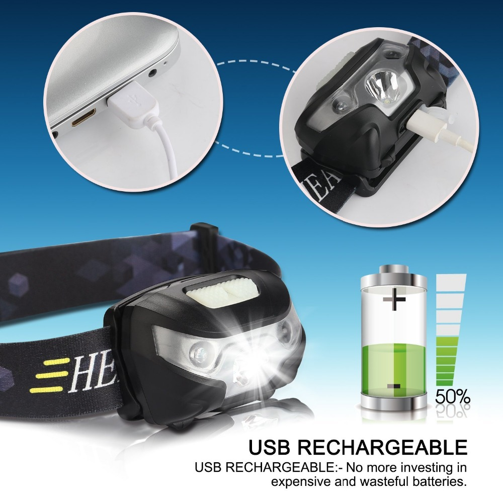 Image 4 - new Mini Rechargeable LED Headlamp Headlight Body Motion Sensor Led Head Lamp Camping Flashlight Waterproof for Running Light-in Headlamps from Lights & Lighting