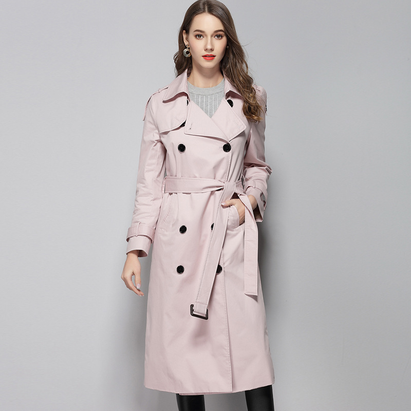 2019 Spring New Women's Star   Trench   Female Temperament Slim Pink Long Fashion