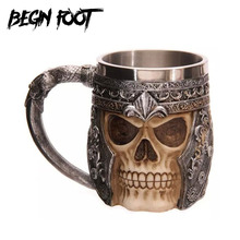 Warrior Tankard Viking Lifelike Skull Beer Tea Mug Stainless Steel Gothic Helmet Drinkware Vessel Creative Game Of Thrones Gift