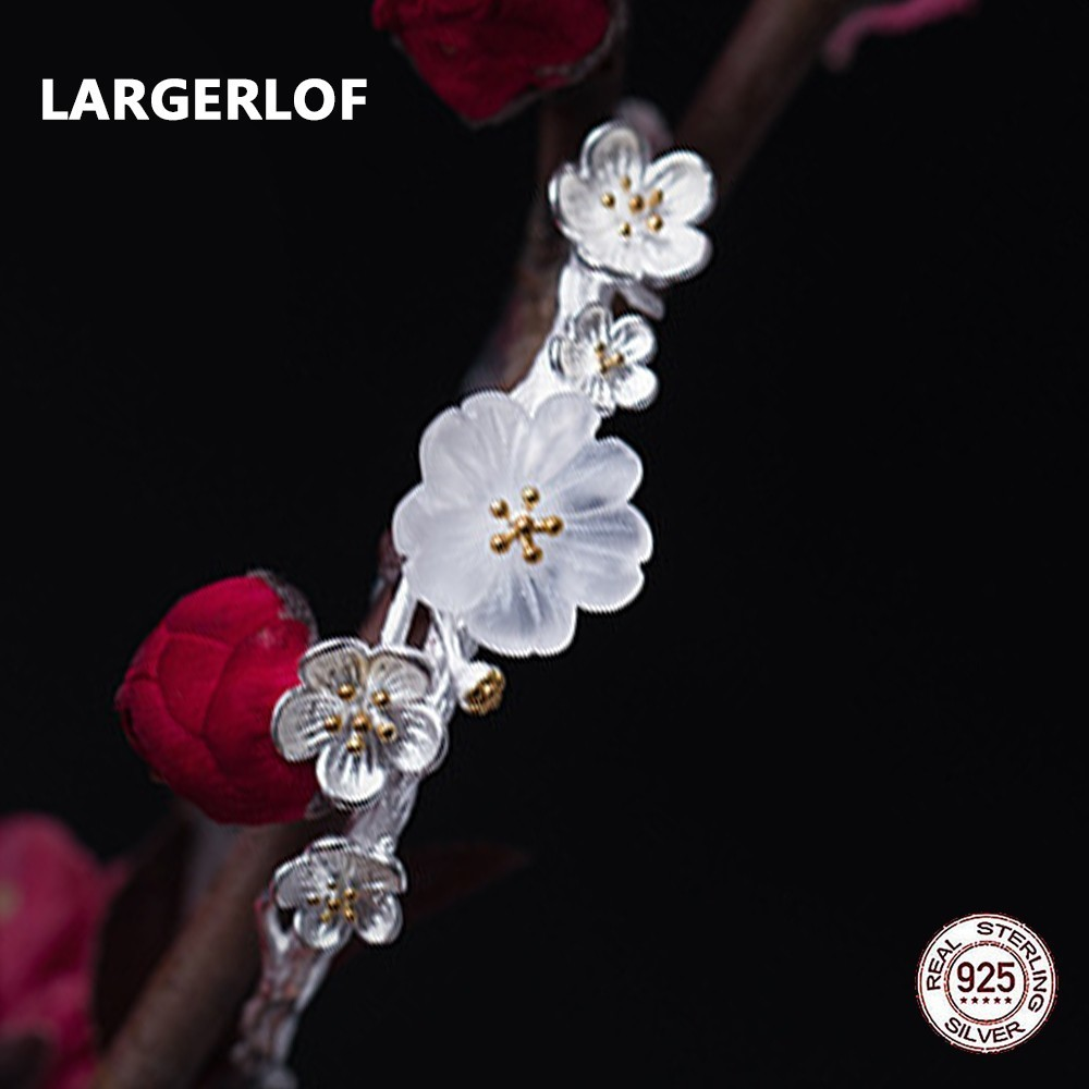 LARGERLOF Real 925 Sterling Silver Crystal Bangles For Women Silver Bracelet Bangle Fine Jewelry Handmade Flower Bangle BG49112LARGERLOF Real 925 Sterling Silver Crystal Bangles For Women Silver Bracelet Bangle Fine Jewelry Handmade Flower Bangle BG49112