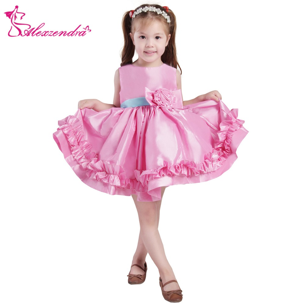 Alexzendra Hot Pink A Line Cute Satin Flower Girls Dresses with Sash Girls First Communion Dress Princess Girl Dress