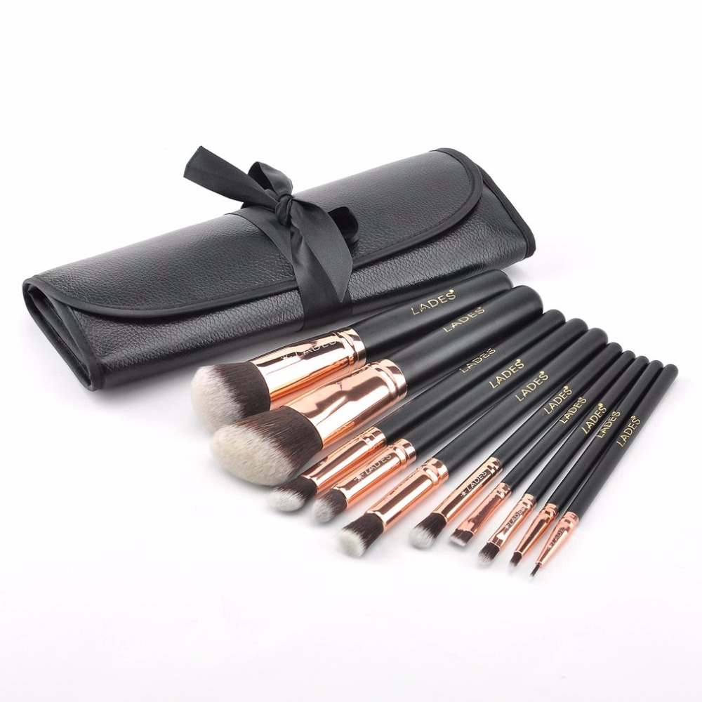10 pcs/set Makeup brushes Set Eye Shadow Foundation Eyebrow Face Blush Powder Brushes With Cosmetic Bag Makeup Tool new