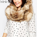 Wink Gal quente collar faux fur marca de luxo mulheres 2016 faux inverno pele de raposa anel cachecóis Moda cachecol laço feminino W10468