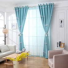 high quality dandelion patterns long window door curtains living room bedroom blackout curtains blue pink