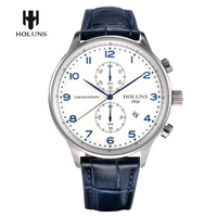 Date Display Luxury Water Resistant Genuine Leather Band Chronograph Big Size Men Male Outdoor Wrist Watch