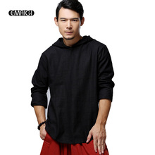 High Quality Linen Male Fashion Casual Hooded Tee Shirt Men Pullover Tops Loose Punk T-Shirts