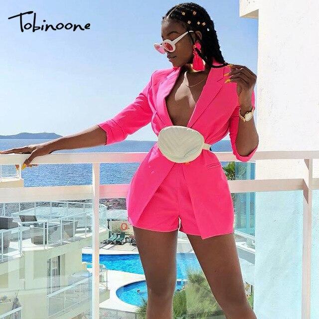 Tobinoone 2018 סתיו 2 piece סט נשים אלגנטי רשמי חליפות נשים אופנה כפתורי סרבל נשים 2 piece סט למעלה מכנסיים