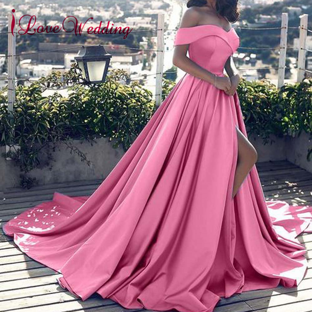 Hot Sale 2019 Pink Evening Dresses Sexy V Neck Off the Shoulder Satin A Line Elegant Long Prom Party Gown Vestido de Festa Curto(China)