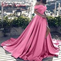 Hot Sale 2019 Pink Evening Dresses Sexy V Neck Off the Shoulder Satin A Line Elegant Long Prom Party Gown Vestido de Festa Curto