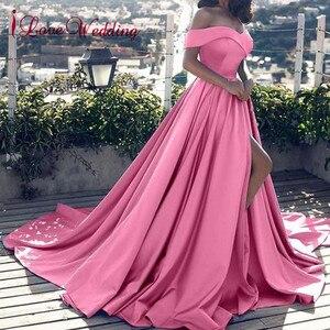Image 1 - Hot Sale 2020 Pink Evening Dresses Sexy V Neck Off the Shoulder Satin A Line Elegant Long Prom Party Gown Vestido de Festa Curto