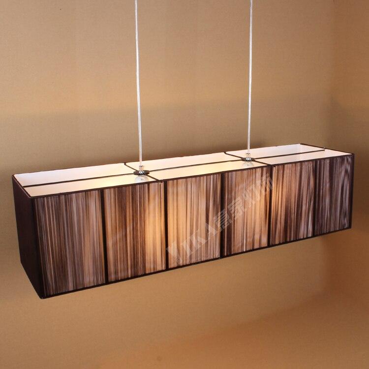 Suspension moderne lampe de Restaurant LED salle à manger en soie, simple, rectangulaire lampe suspension ZS165