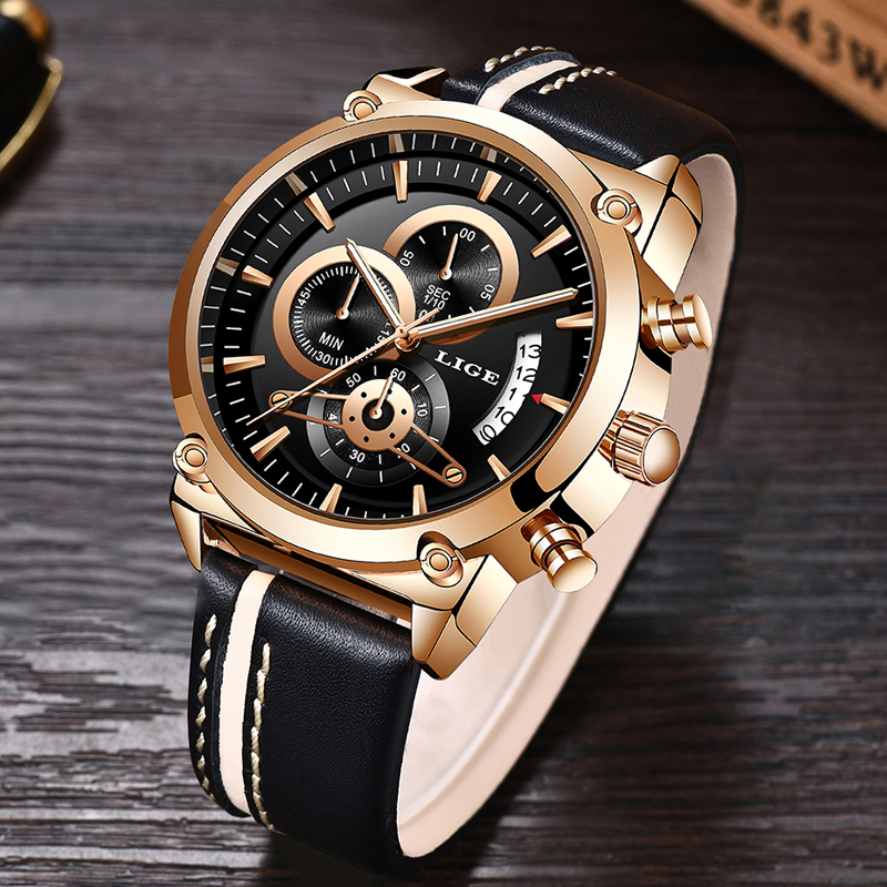 2019 LIGE Watch Men Top Luxury Brand Quartz Sport Watches Men Fashion Analog Leather Male Waterproof Wristwatch Reloj Hombre+Box