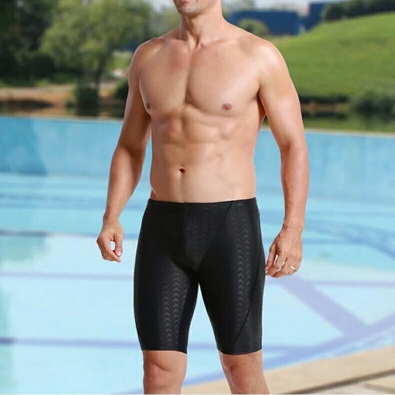 6019fd259c94 Hombres Bañadores negro Piel de tiburón de los hombres Natación troncos de  secado rápido más tamaño sunga mens Natación Pantalones cortos ...