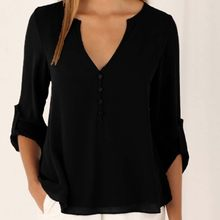 Sexy V Neck Button Chiffion Blouse Tops Summer Women Long Sleeve Slim Shirt Tops Oversized Blusa Tops EF6116(China)