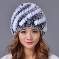 2016 Winter Beanies Fur Hat for Women Knitted Rex Rabbit Fur Striped Fashion Free Size Casual Russian Women's Hat