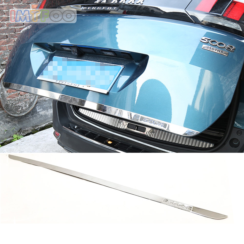 STAINLESS STEEL REAR HATCH TRUNK DOOR LID TAILGATE BODY MOLDING FOR PEUGEOT 5008 2017 2018 2019 ACCESSORIES