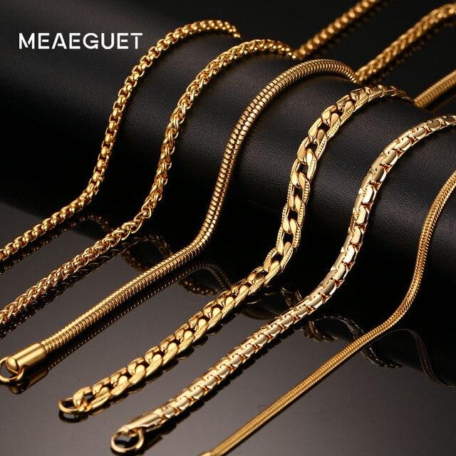 936c03f6b019 Meaeguet 20 pulgadas de oro-de acero inoxidable de color collar de cadena  para los hombres las mujeres serpiente caja colgante acera  plano Cadena de  ancho ...