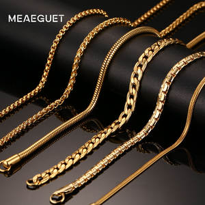 Meaeguet Stainless Steel Necklace For Men Women Chain Wide