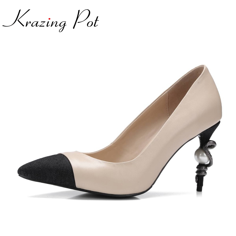 Krazing pot new hot fashion high heels pumps pointed toe slip on women pearl snake fastener brand shoes genuine leather nude L38 china – a new history 2e enlarged edition oisc